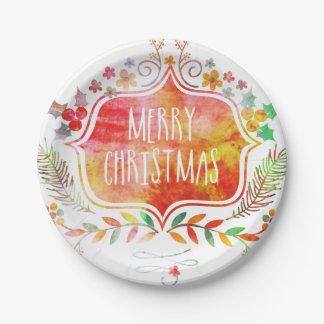 Plato De Papel Felices Navidad retras de la acuarela