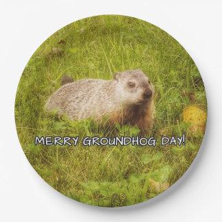 Plato De Papel Felices placas del día de la marmota