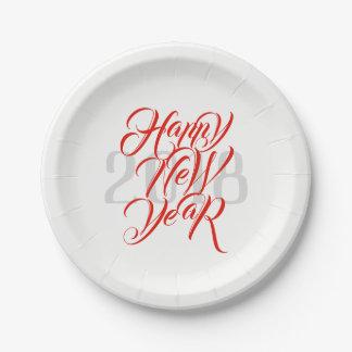 Plato De Papel Feliz Año Nuevo - escritura roja intrépida y año