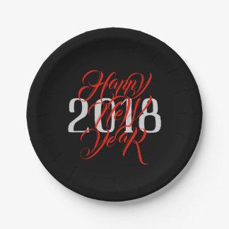 Plato De Papel Feliz Año Nuevo - escritura roja y año gris -