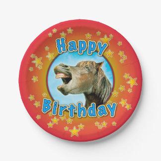 Plato De Papel Feliz cumpleaños del caballo de risa
