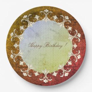Plato De Papel Feliz-Cumpleaños-VIEJo-elegancia-guirnalda-Damasco