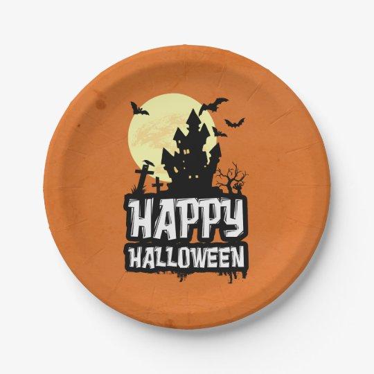 Plato De Papel Feliz Halloween