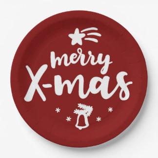 Plato De Papel Feliz Navidad roja y blanca