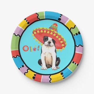 Plato De Papel Fiesta Boston Terrier