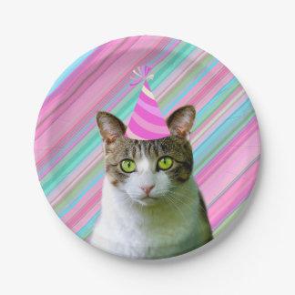 Plato De Papel Fiesta como un gato animal con cumpleaños del