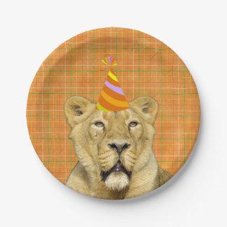 Plato De Papel Fiesta como un león animal con cumpleaños del