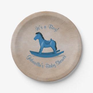 Plato De Papel Fiesta de bienvenida al bebé azul del caballo