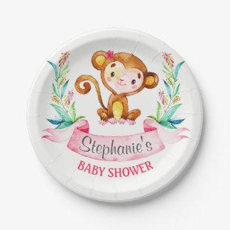Plato De Papel Fiesta de bienvenida al bebé del chica del mono de