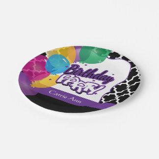 Plato De Papel Fiesta de cumpleaños con los globos en púrpura