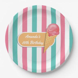 Plato De Papel Fiesta de cumpleaños del helado personalizada