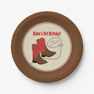 Plato De Papel Fiesta de cumpleaños occidental roja de las botas