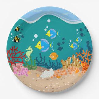 Plato De Papel Fiesta de cumpleaños submarina tropical de la