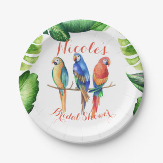 Plato De Papel Fiesta de cumpleaños tropical de los pájaros y de