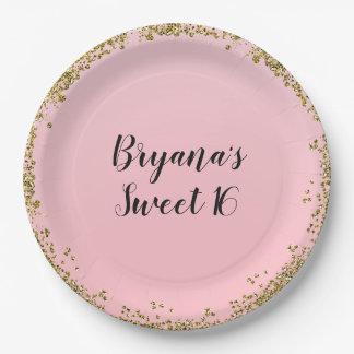 Plato De Papel Fiesta de encargo del dulce 16 atractivos rosados