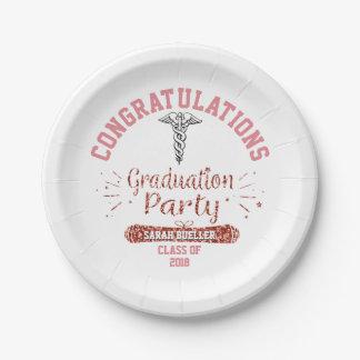 Plato De Papel Fiesta de graduación color de rosa rosada del oro