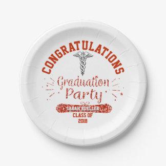 Plato De Papel Fiesta de graduación del rojo de la Facultad de