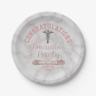 Plato De Papel Fiesta de graduación subió escuela de enfermería