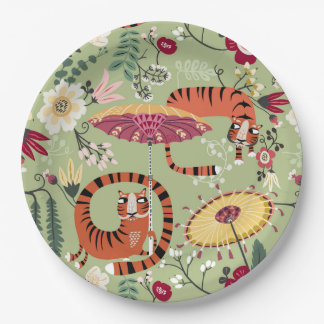Plato De Papel Fiesta de jardín del tigre