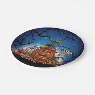 Plato De Papel Fiesta del cuervo de la calabaza de Halloween