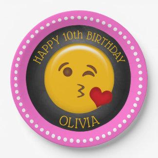 Plato De Papel Fiesta del cumpleaños del chica lindo de Emoji