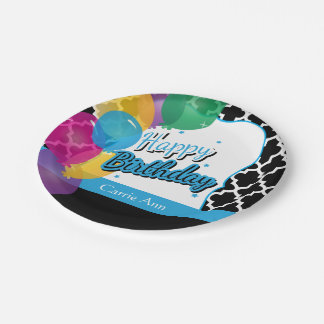 Plato De Papel Fiesta del feliz cumpleaños con los globos en azul