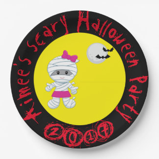 Plato De Papel Fiesta lindo de Halloween de la momia del chica