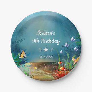 Plato De Papel Filón del océano bajo fiesta de cumpleaños del mar