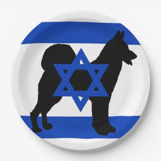 Plato De Papel flag_of_israel cannan de la silueta del perro