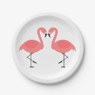 Plato De Papel Flamenco rosado que casa el amor nupcial Luau de