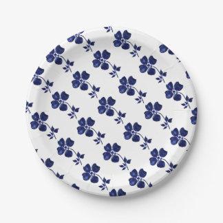 Plato De Papel Flor azul