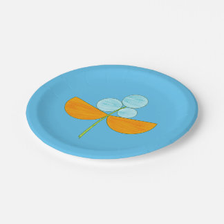 Plato De Papel Flor azul y anaranjada grande de la acuarela