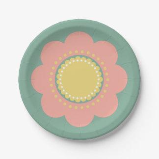 Plato De Papel Flor de los rosas bebés y del amarillo del vintage