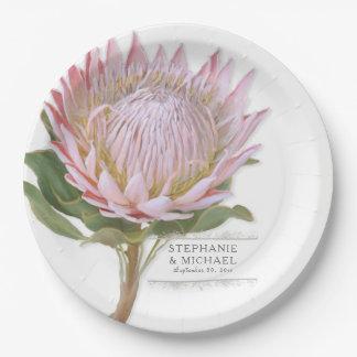 Plato De Papel Flor rosada floral moderna del Protea del fiesta