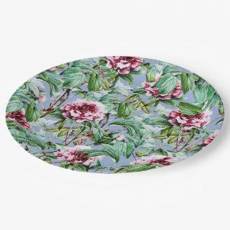 Plato De Papel Floral escarchado