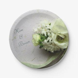 Plato De Papel Flores blancas de la primavera con la cinta