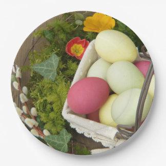 Plato De Papel Flores de la primavera y cesta de huevos de Pascua