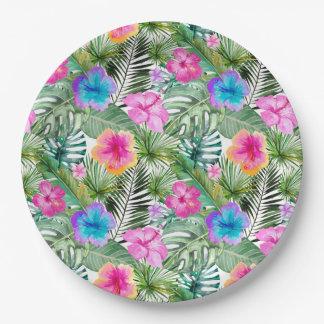 Plato De Papel Flores exóticas de la selva de la hawaiana