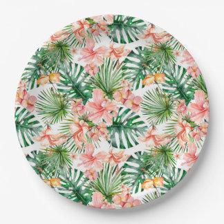 Plato De Papel Flores exóticas tropicales del hibisco de la selva