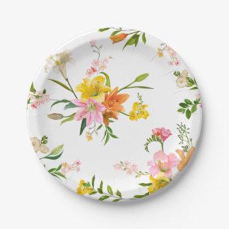 Plato De Papel Flores florales del lirio - rosadas, boda del