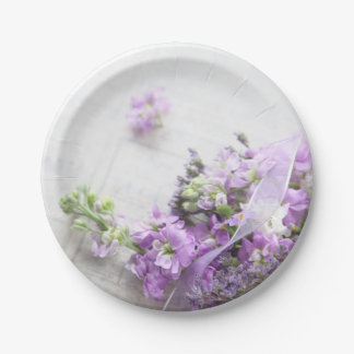 Plato De Papel flores Lavanda-coloreadas en vieja música