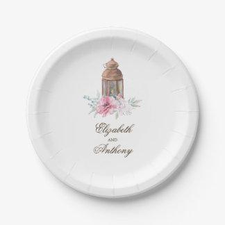 Plato De Papel Flores rosadas elegantes de la linterna del Lit de