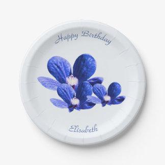 Plato De Papel Flores salvajes azules