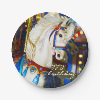 Plato De Papel Foto del caballo del carrusel del carnaval de la