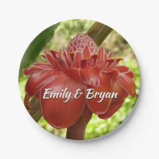 Plato De Papel Fotografía tropical de la flor del jengibre rojo