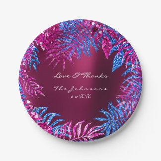 Plato De Papel Frambuesa rosada tropical del rosa de las azules