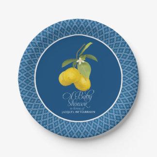 Plato De Papel Fruta cítrica azul de la flor del limón de la