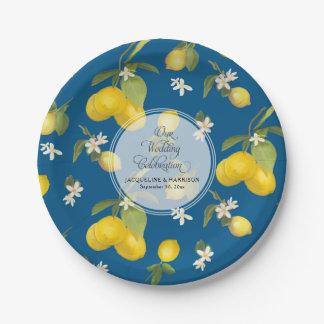 Plato De Papel Fruta cítrica de la flor del limón del azul real