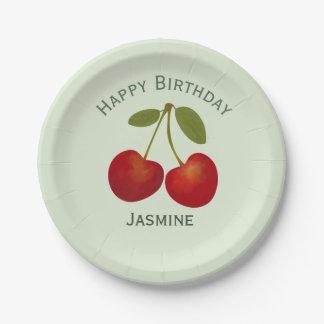 Plato De Papel Fruta roja de las cerezas, feliz cumpleaños