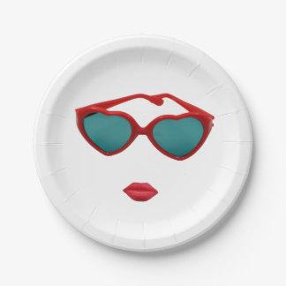Plato De Papel Gafas de sol y labios rojos del caramelo